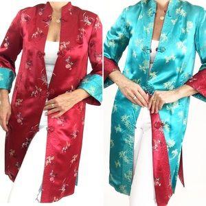 Vintage Cheongsam Long Coat Reversible